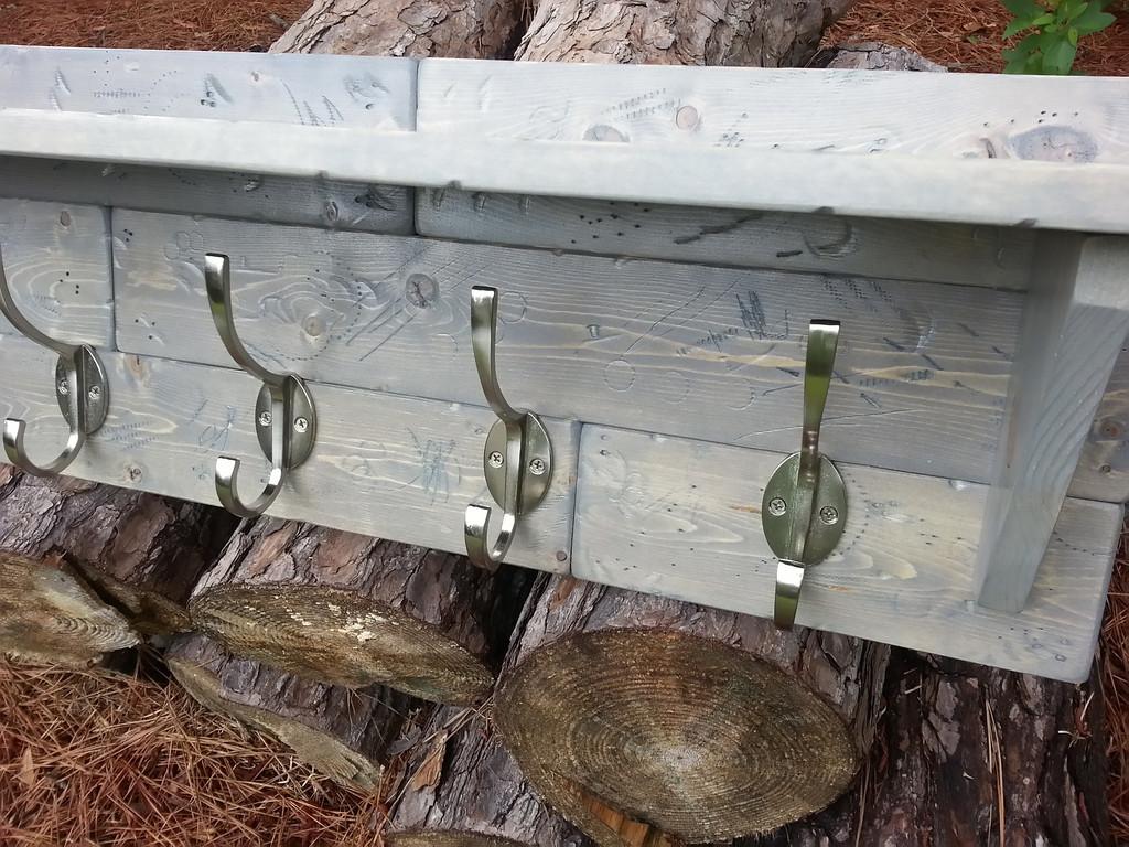 Coastal Oak Designs Rustic Coat Rack In Classic Gray
